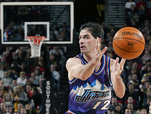 John Stockton (here in 2002) played in every game in 17 of his 19 years with the Jazz. (Sam Forencich/NBAE)